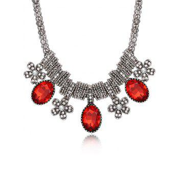 Luxury Rhinestone Inlay Floral Pendant Necklace - RED RED