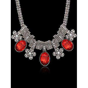 Luxury Rhinestone Inlay Floral Pendant Necklace -  RED