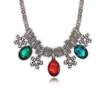 Luxury Rhinestone Inlay Floral Pendant Necklace - MULTI multicolor