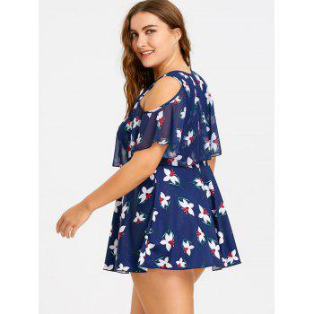 Plus Size Cold Shoulder Keyhole Floral Tankini Set - CADETBLUE 6XL