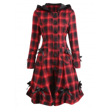 Plaid Button Up Hooded Skirted Coat - COLORMIX COLORMIX