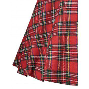 Collared Lace Insert Tartan Vintage Dress - RED RED
