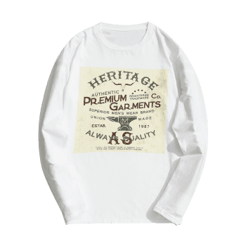 Cotton Long Sleeve Graphic Tee - WHITE M