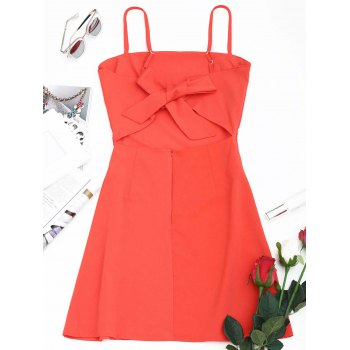 Tied Bowknot Back Mini Spaghetti Strap Dress - WATERMELON RED S