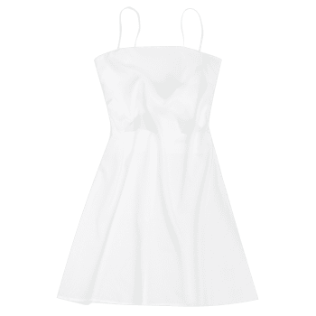 Tied Bowknot Back Mini Spaghetti Strap Dress - WHITE L