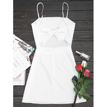 Tied Bowknot Back Mini Spaghetti Strap Dress - WHITE S
