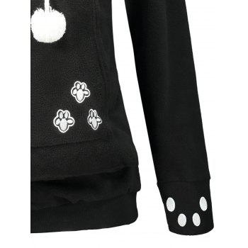 Pom Pom Cat Pouch Fleece Tunic Hoodie - BLACK S