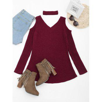 Choker Cold Shoulder Mini Knitted Dress - WINE RED M