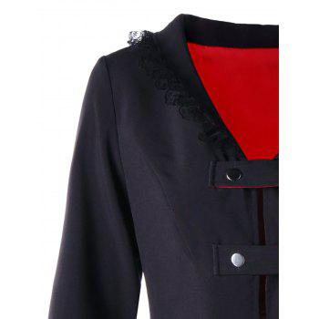 Lace Trimmed High Low Gothic Coat - RED/BLACK XL