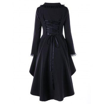 Lace Trimmed High Low Gothic Coat - RED/BLACK 2XL