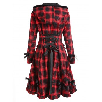 Plaid Button Up Hooded Skirted Coat - COLORMIX S