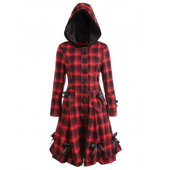 Plaid Button Up Hooded Skirted Coat - COLORMIX XL