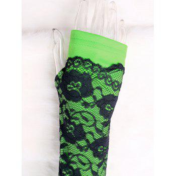 Two Tone Lace Trim Fingerless Arm Warmers - BLACK/GREEN L