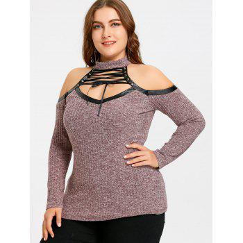 Lace Up Plus Size Cold Shoulder Keyhole Knitwear - WINE RED XL