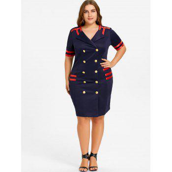 Plus Size Double Breasted Striped Bodycon Dress - CADETBLUE 4XL