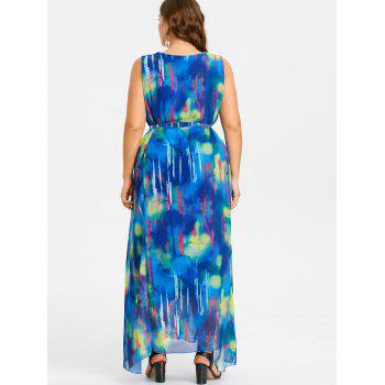 Chiffon Plus Size Maxi Beach Dress - BLUE BLUE