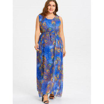Peacock Feather Print Plus Size Maxi Chiffon Dress - BLUE BLUE