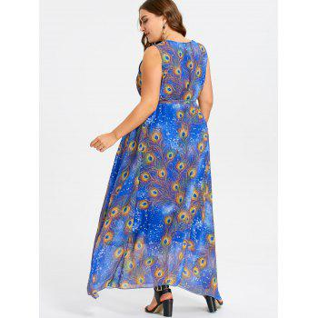 Peacock Feather Print Plus Size Maxi Chiffon Dress - BLUE 5XL