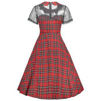 Robe vintage en tartan à empiècements en dentelle à carreaux - Rouge L