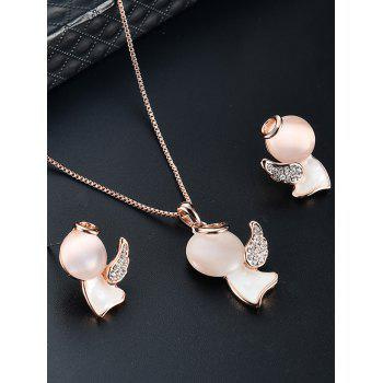 Artificial Diamond Doll Wing Pendant Necklace and Earrings - GOLDEN