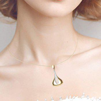 Tear Drop Hollow Out Metal Pendant Necklace with Earrings - GOLDEN