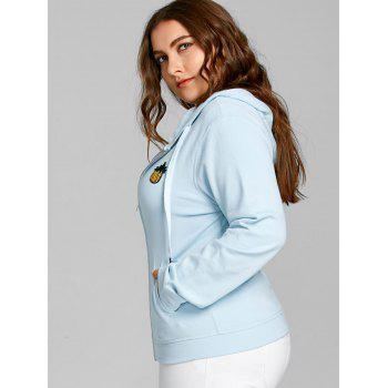 Pineapple Patch Plus Size Zip Hoodie - LIGHT BLUE 2XL