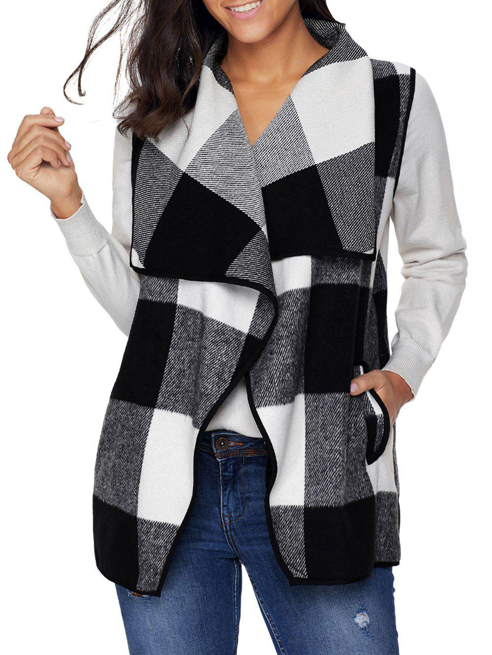 Turndown Collar Plaid Vest - BLACK XL