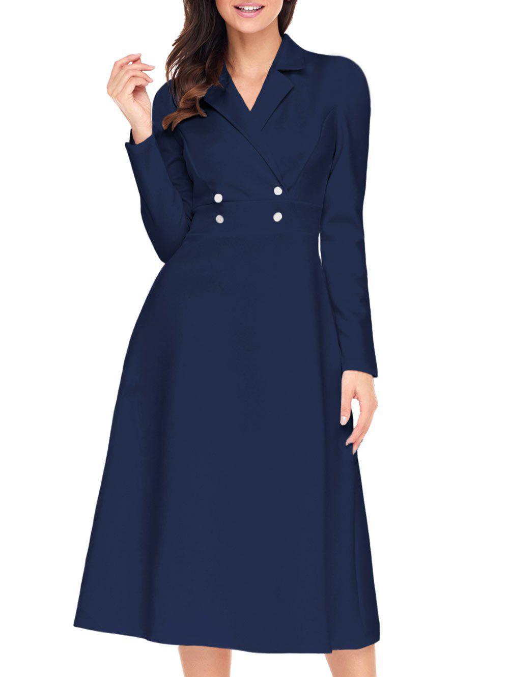 Lapel Col Bouton A-ligne Midi Dress - [