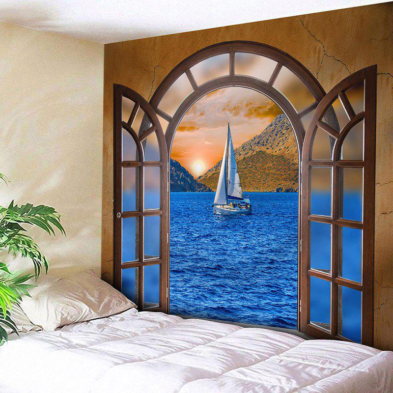 Window Scenery Sailboat at Sea Print Wall Decor Tapestry lepin 05040 y attack starfighter wing building block assembled brick star series war toys compatible with 10134 educational gift