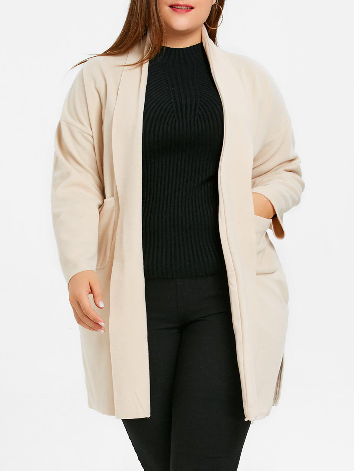 Open Front Plus Size Shawl Neck Coat with Slit - APRICOT 3XL