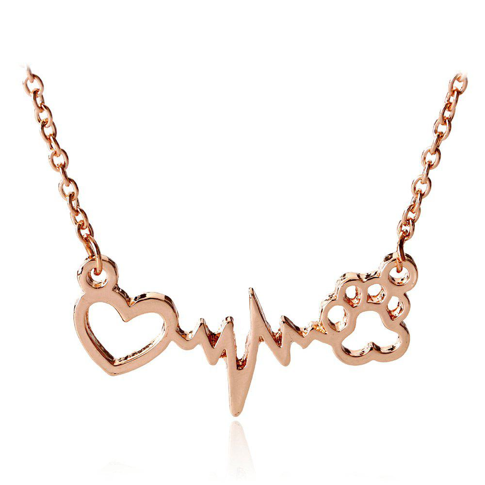 Heartbeat Electrocardiogram Dog Paw Necklace - ROSE GOLD