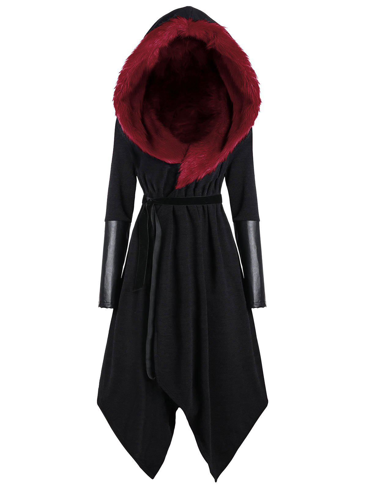 Faux Fur Panel Hooded Plus Size Asymmetric Coat - BLACK/RED 4XL