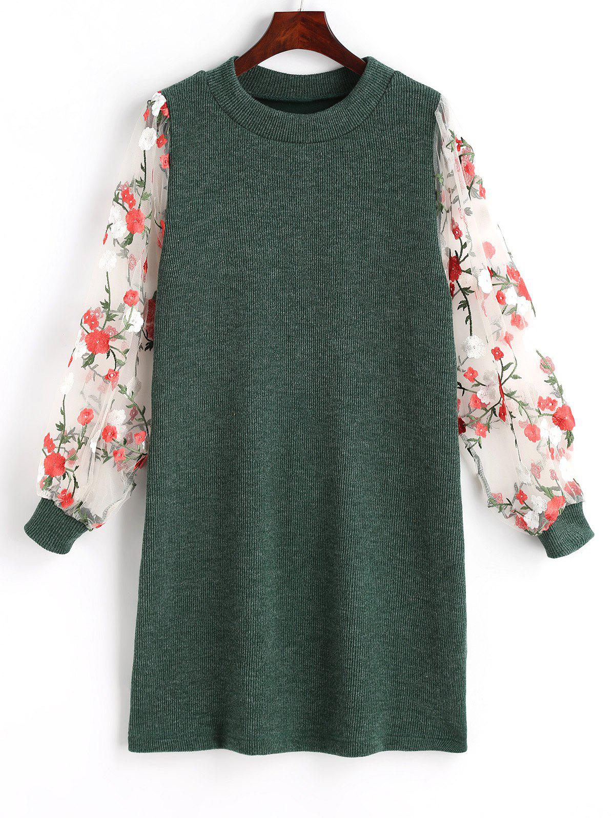 Mesh Panel Floral Mini Knit Dress - GREEN M