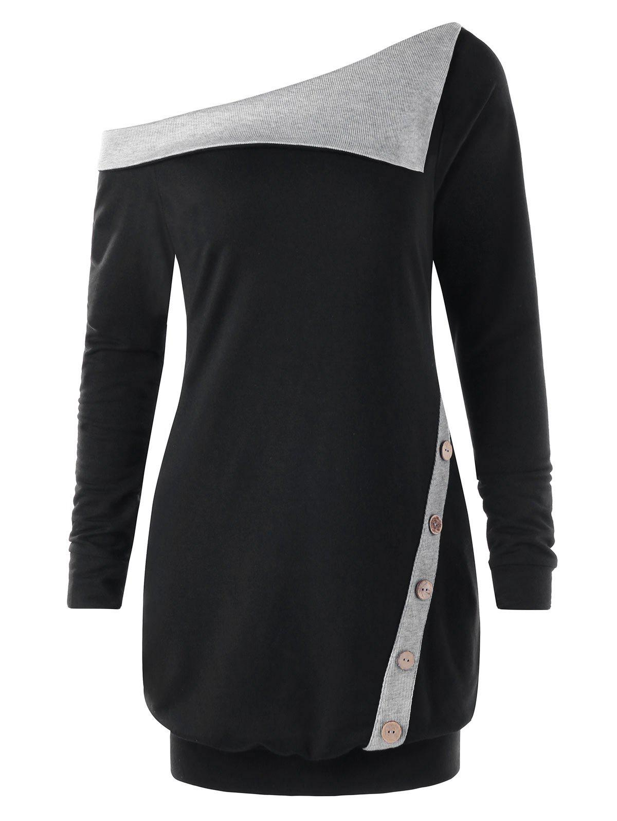 Pullover Buttons Two Tone Skew Neck Sweatshirt two tone dolman sleeve pullover
