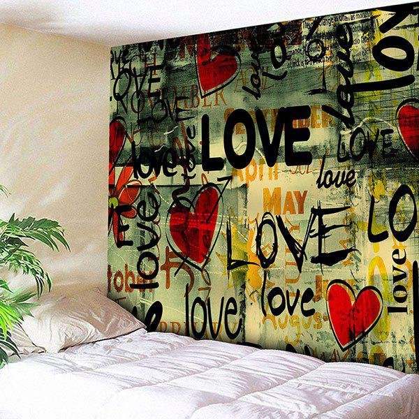 Love Heart Graffiti Printed Wall Art Tapestry
