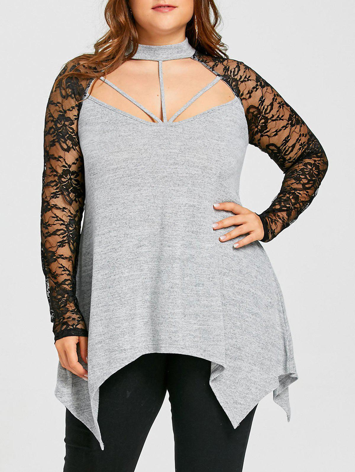 Plus Size Lace Panel Mock Neck Top, Light gray