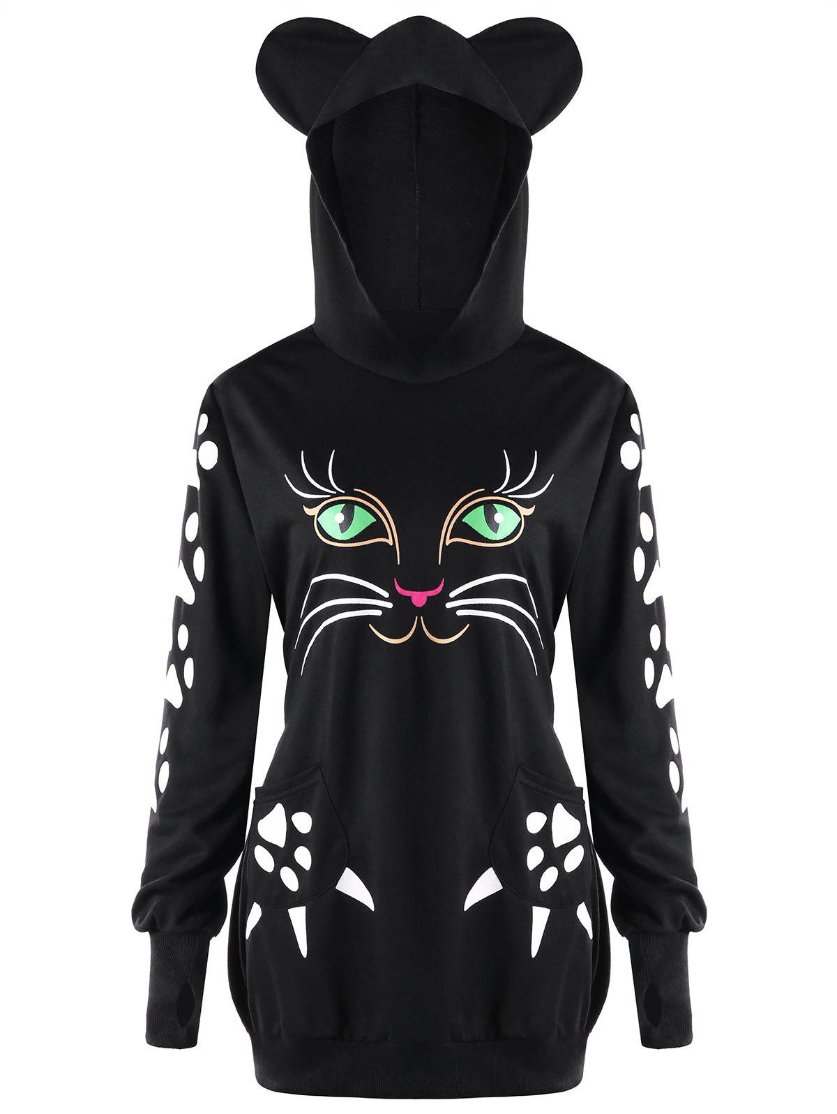 цена Plus Size Cat Print Hoodie with Ears