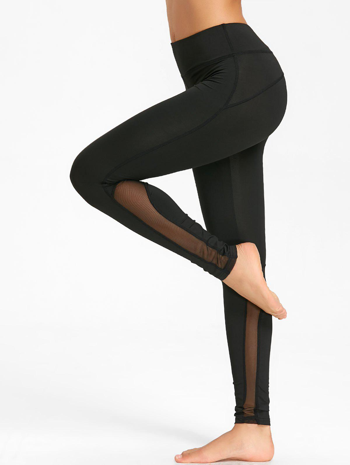 High Rise Mesh Insert Workout Tights - BLACK L