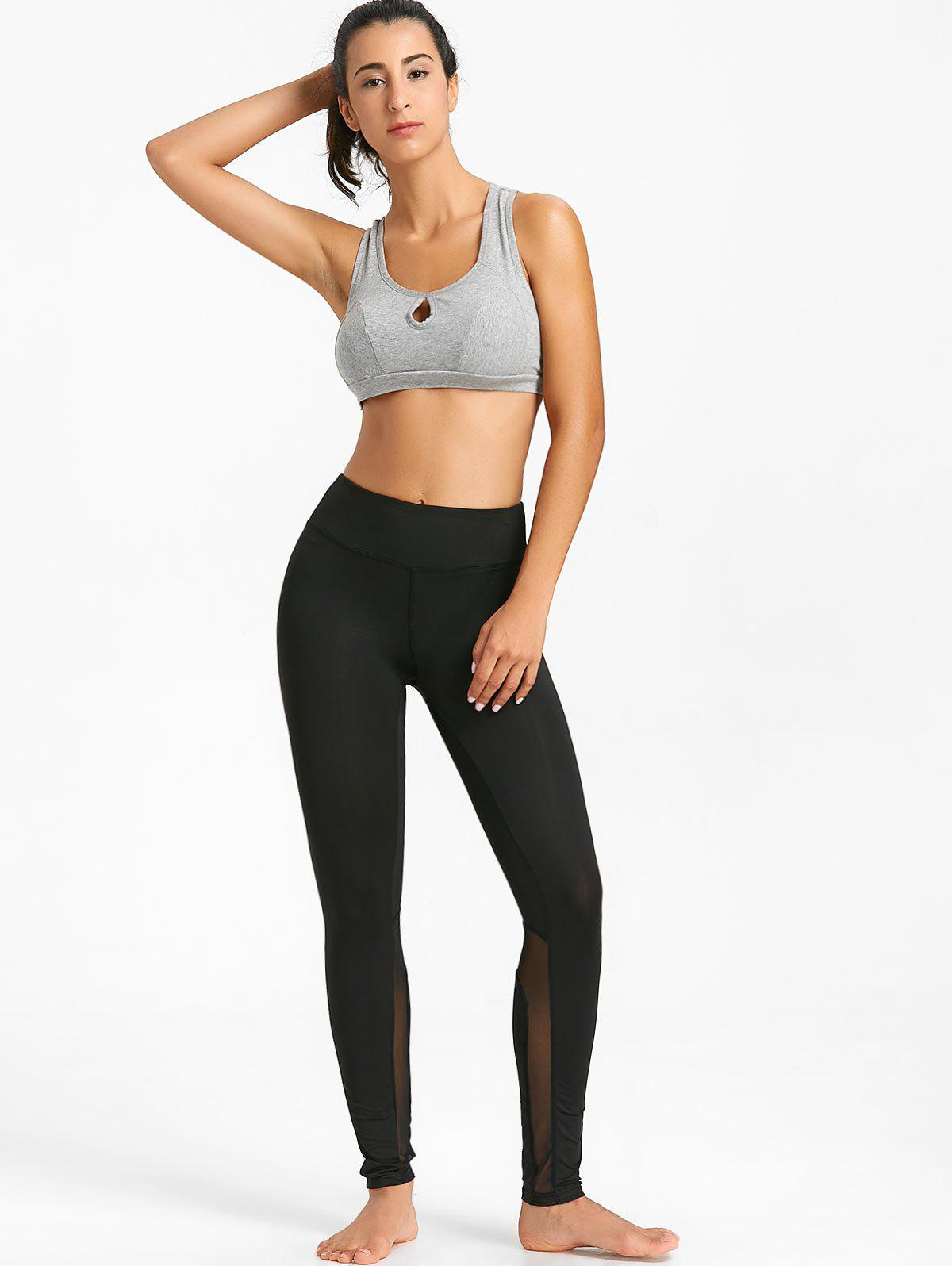 High Rise Mesh Insert Workout Tights - BLACK S