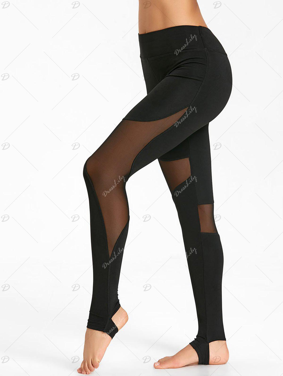 See Through Workout Leggings with Mesh Panel - BLACK S