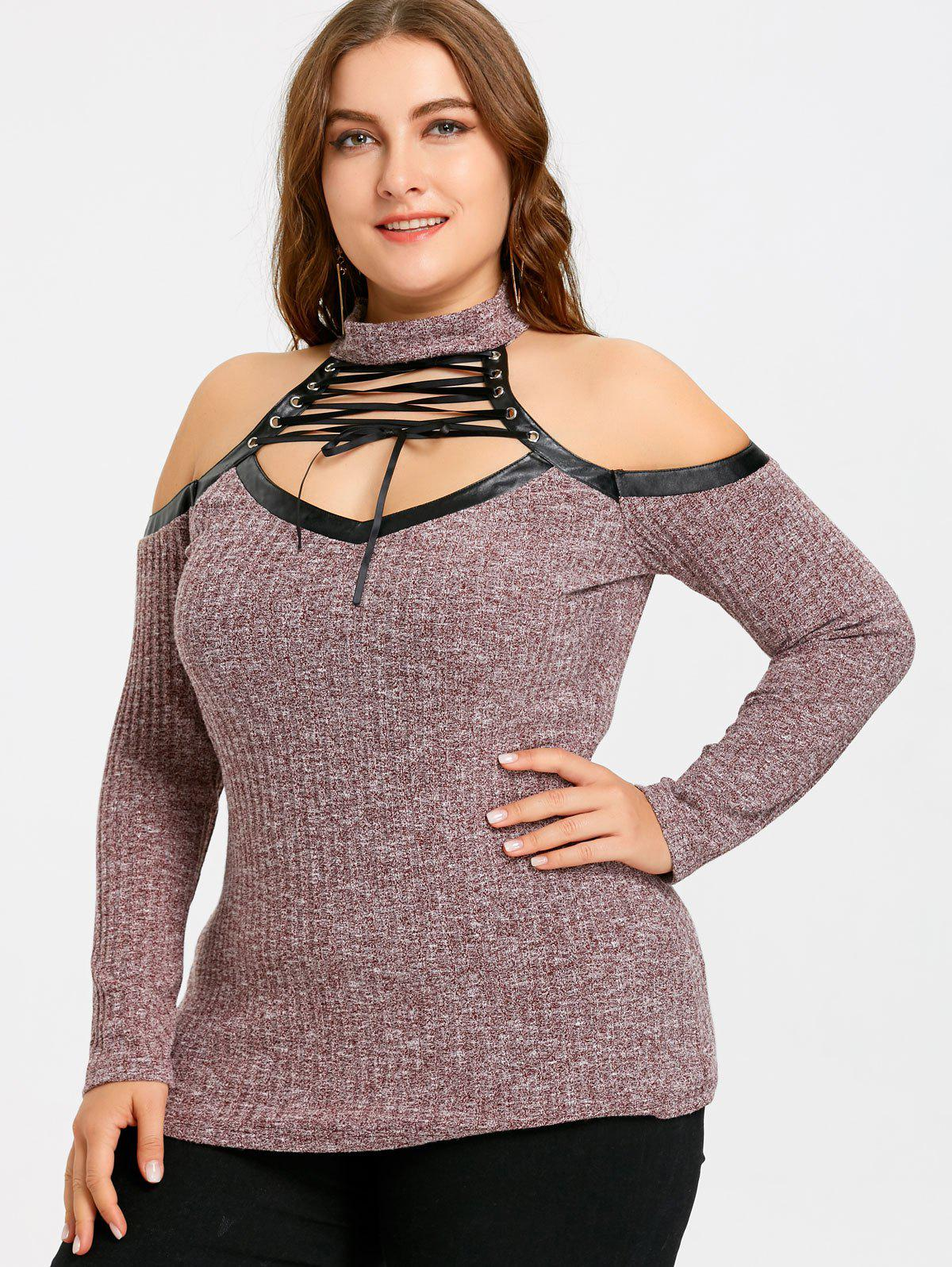 Lace Up Plus Size Cold Shoulder Keyhole Knitwear - WINE RED 4XL