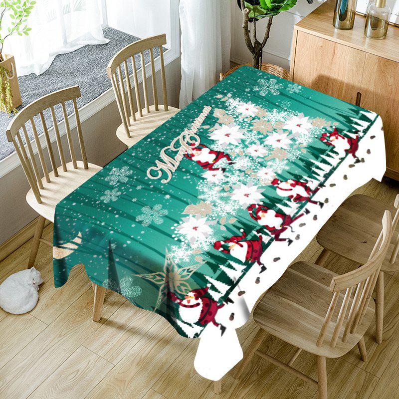 Abstract Christmas Tree Santa Claus Pattern Waterproof Table Cloth - GREEN W60 INCH * L84 INCH