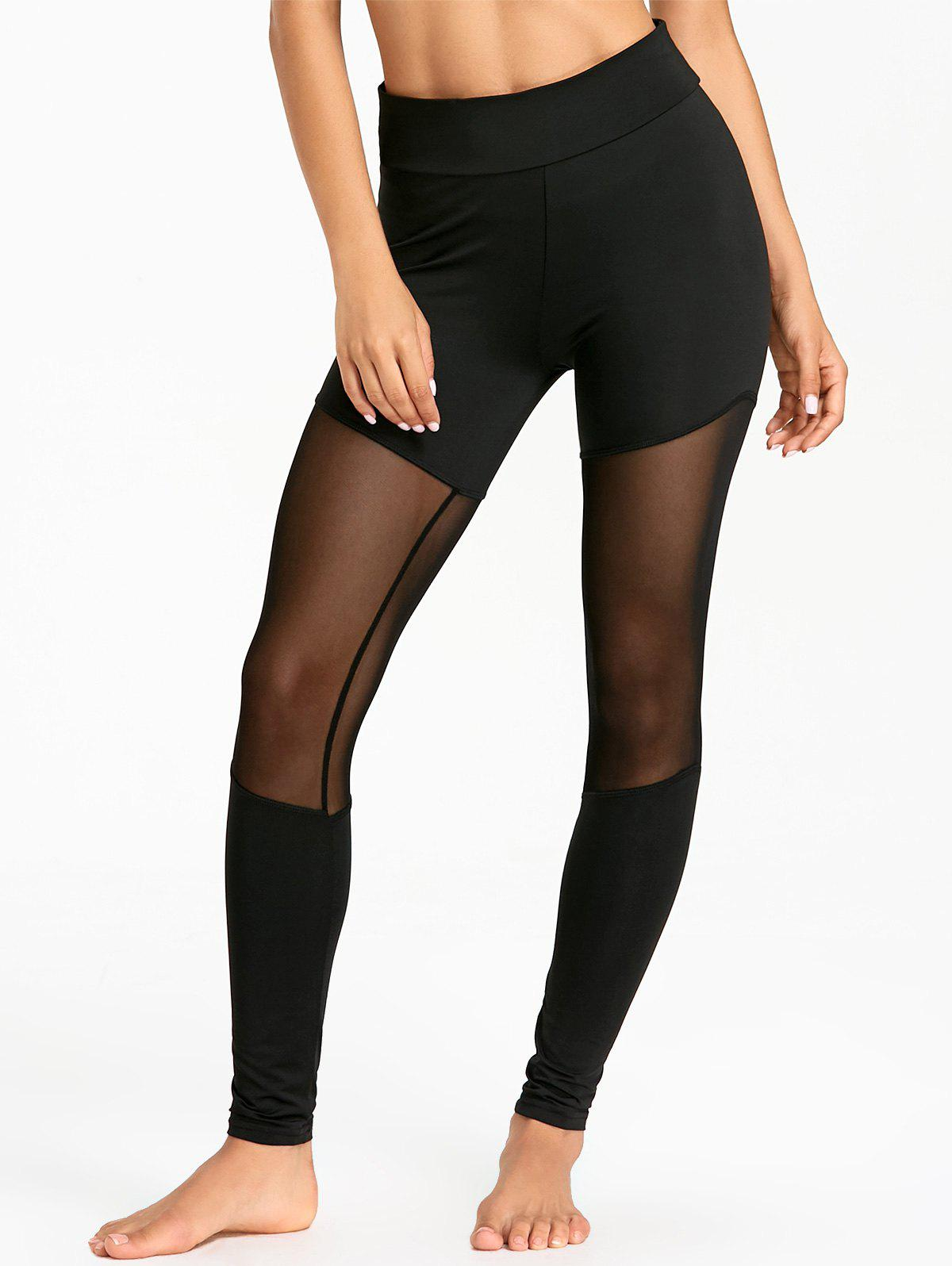 Sports Sheer Mesh Insert Leggings - BLACK M