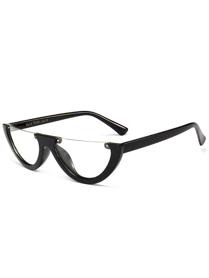 Vintage Semi-Rimless Decorated Cat Eye Sunglasses - TRANSPARENT