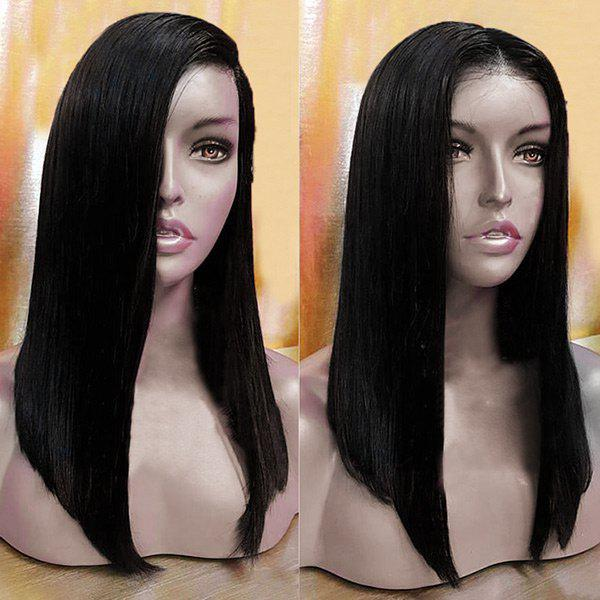 Lace Front Long Free Part Straight Synthetic Wig - BLACK