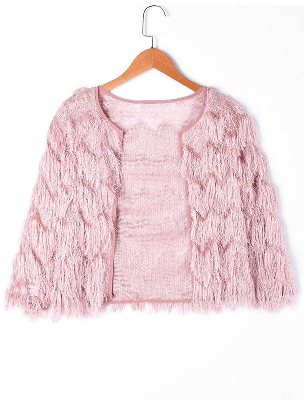 Plain Short Fringed Jacket - SHALLOW PINK L