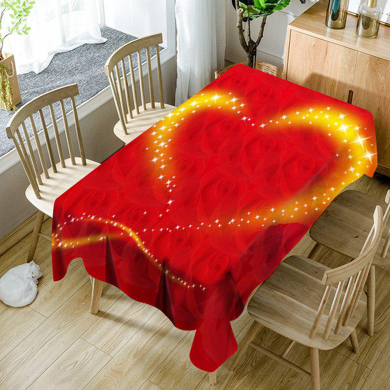 Valentine's Day Roses Sparkling Heart Pattern Waterproof Table Cloth - RED W60 INCH * L84 INCH