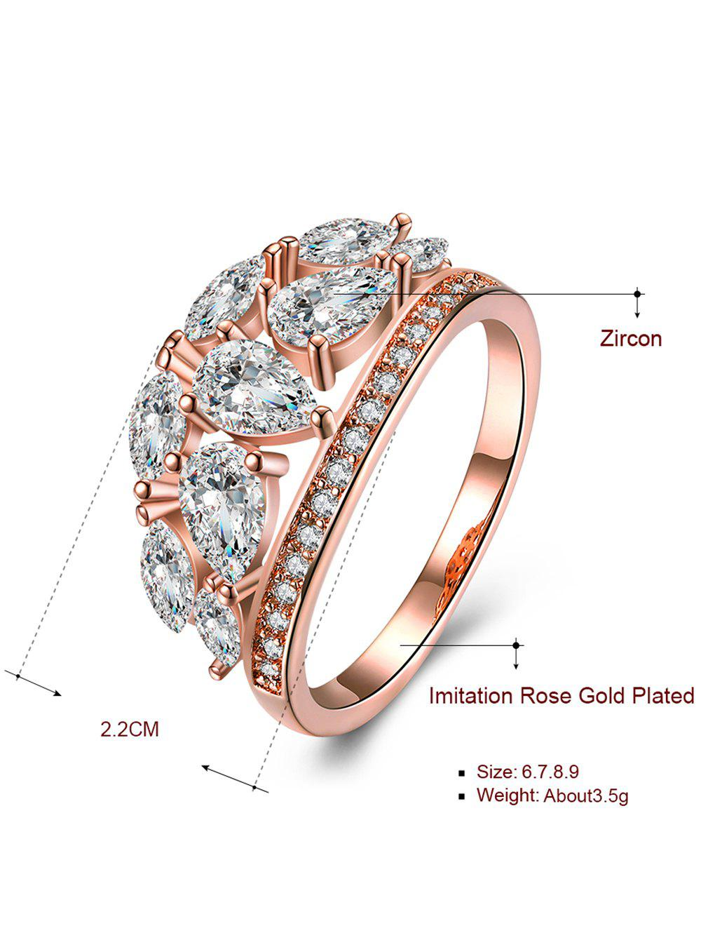 Bague décorative en imitation de diamant imitation - Rose OR et Blanc 9