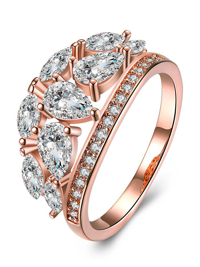 Imitation Diamond Inlay Decorative Ring - ROSE GOLD/WHITE 9