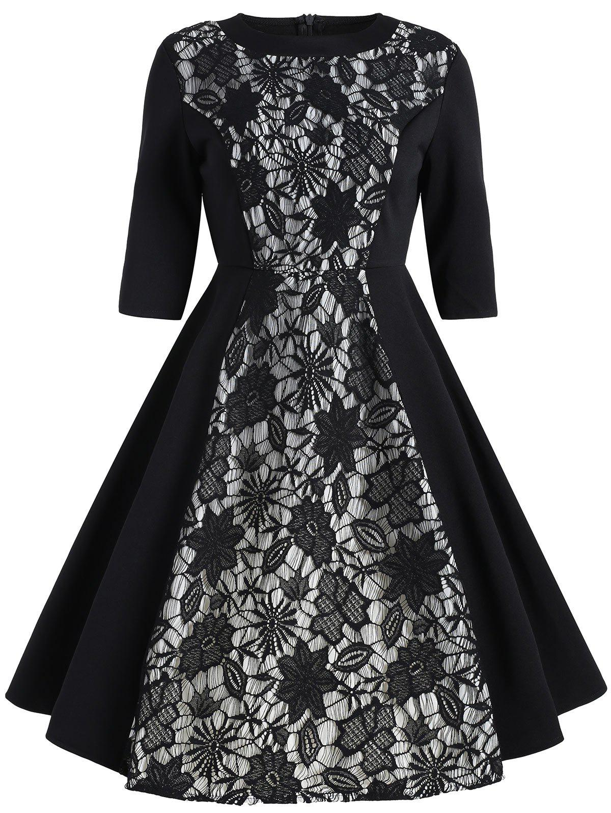Vintage Floral Lace Insert Dress - BLACK M